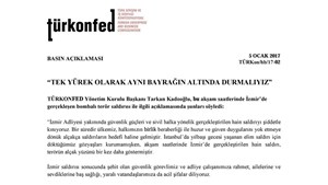 """TÜRKONFED Başkanı Kadooğlu; """"Tek Yürek Olarak Aynı Bayrağın Altında Durmalıyız"""""""