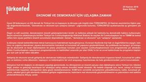"""TÜRKONFED: """"Demokrasi ve Ekonomi İçin Uzlaşma Zamanı""""-25 Haziran 2018"""