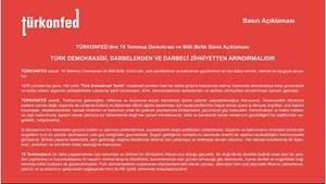 TÜRKONFED: Türk Demokrasisi, Darbelerden ve Darbeci Zihniyetten Arındırılmalıdır