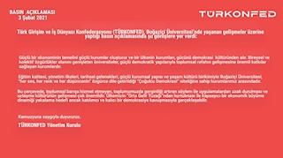 Boğaziçi Üniversitesi'nde Yaşanan Gelişmelere İlişkin Basın Açıklaması