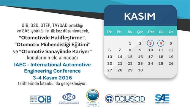 Ajandanıza Kaydedin! IAEC – International Automotive Engineering Conference