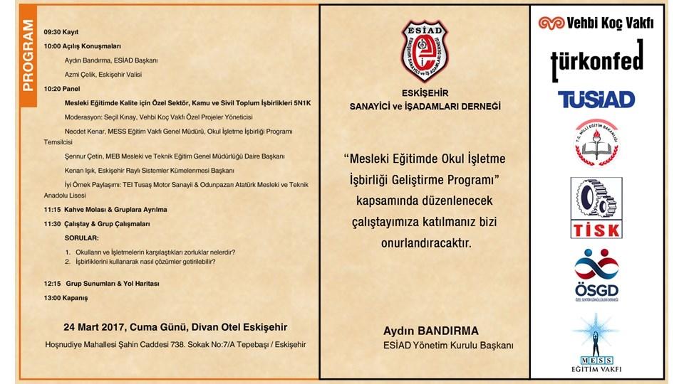 ESİAD Mesleki Eğitimde Okul İşletme İşbirliği Geliştirme Programı Çalıştayı