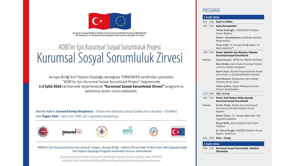 Sivil Toplum Diyaloğu - Kurumsal Sosyal Sorumluluk Zirvesi 1-2 Eylül İstanbul