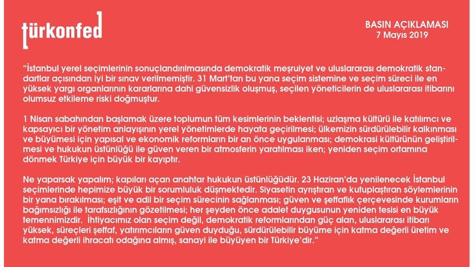 TÜRKONFED: İstanbul Yerel Seçimleri Basın Açıklaması