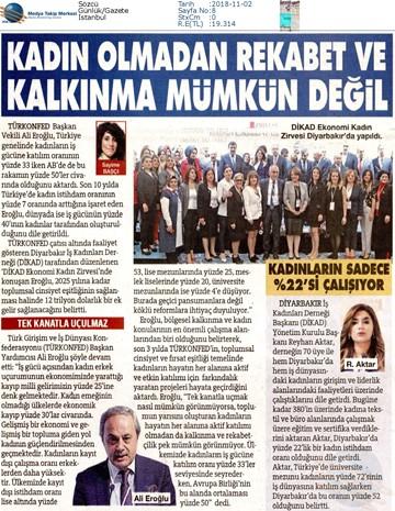 1. DİKAD Ekonomi ve Kadın Zirvesi Medya Yansımaları 1 Kasım 2018 / Diyarbakır