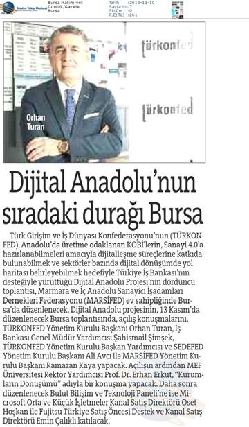 Dijital Anadolu Toplantısı Medya Yansımaları  13 Kasım  / Bursa