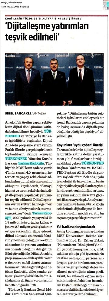 Dijital Anadolu Toplantısı Medya Yansımaları 1 Mart 2018 / Antalya
