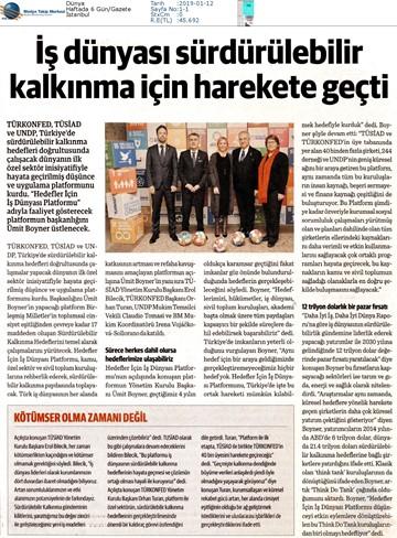 Hedefler İçin İş Dünyası Platformu Medya Yansımaları - 11 Ocak 2019 / İstanbul