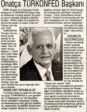 Onatça TÜRKONFED Başkanı Seçildi