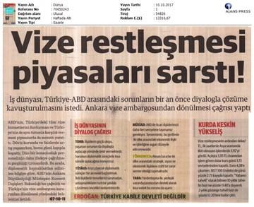 Türkiye-ABD Vize Sorunu Basın Açıklaması Medya Yansımaları / 10 Ekim 2017