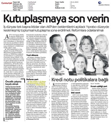 TÜRKONFED 1 Kasım Seçimleri Açıklaması Ulusal Gazetelerde Yansımalar