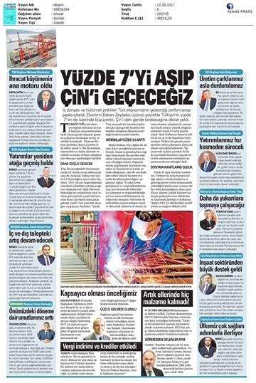 TÜRKONFED 2. Çeyrek Ekonomik Büyüme Basın Bülteni Medya Yansımaları/12 Eylül 2017-İstanbul