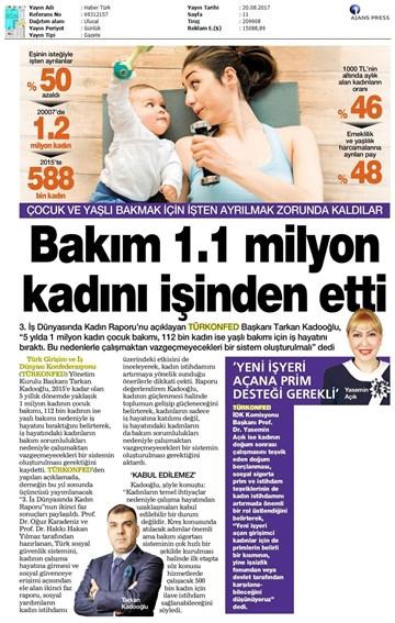TÜRKONFED 3. İş Dünyasında Kadın Raporu II. Faz Basın Bülteni Medya Yansımaları / 20 Ağustos 2017
