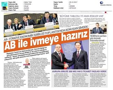 TÜRKONFED Başkanı Kadooğlu, Türkiye-AB Ekonomi Diyalog Toplantısı Medya Yansımaları / 8 Aralık 2017