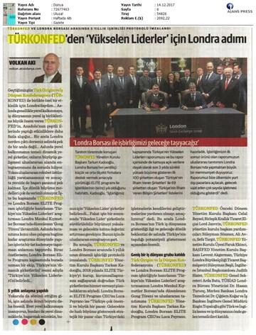 TÜRKONFED-ELITE Programı Türkiye'nin Yükselen Liderleri Raporu Londra Borsası Tanıtımı / 15 Aralık 2017
