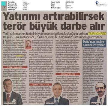 TÜRKONFED-Gaziantep Terör Saldırısı Kınama Mesajı-22 Ağustos 2016