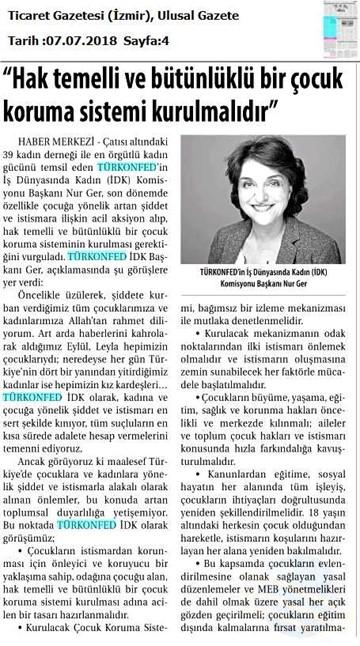 TÜRKONFED İDK Başkanı Nur Ger 'den Çocuk İstismarı ve Şiddetine Yönelik Açıklama / 07 Temmuz 2018
