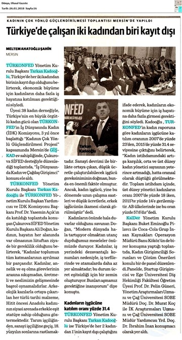 TÜRKONFED İDK - GİŞKAD Kadının Çok Yönlü Güçlendirilmesi Projesi Mersin Toplantısı Medya Yansımaları 26 Ocak 2018 / Mersin