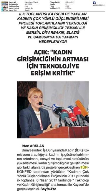 TÜRKONFED İDK Kadının Çok Yönlü Güçlendirilmesi Projesi Kayseri Toplantısı Medya Yansımaları-2 / 8-9 Nisan 2017