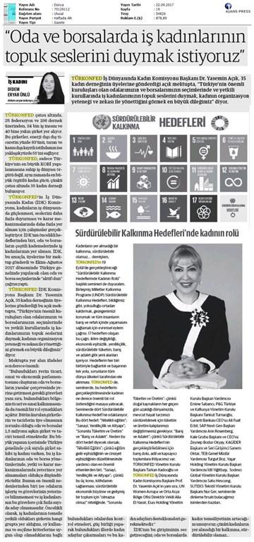 TÜRKONFED İDK'dan İş Kadınlarına Çağrı Basın Bülteni Medya Yansımaları-21 Eylül 2017 / İstanbul
