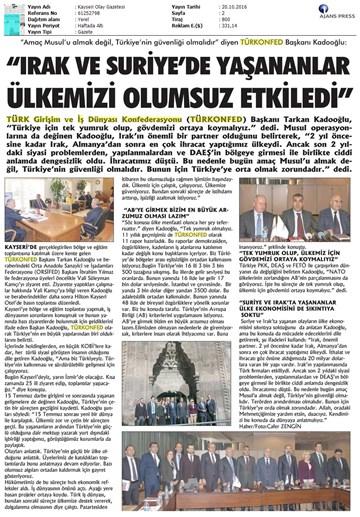 TÜRKONFED KSS Anadolu Toplantıları / Kayseri-19 Ekim 2016