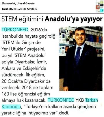 TÜRKONFED STEM Eğitimini Anadolu'ya Yayıyor Medya Yansımaları 6 Ocak 2018