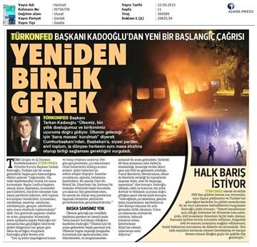 TÜRKONFED Terör Olaylarına İlişkin Açıklamaları / Basın Yansımaları