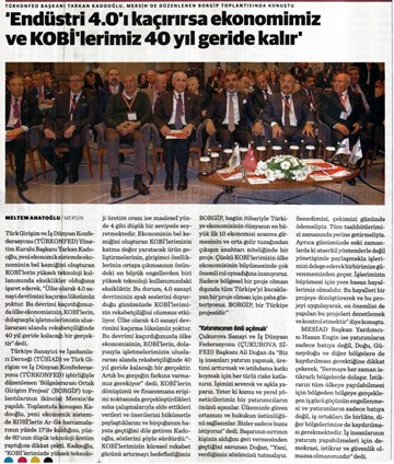 TÜRKONFED-TÜSİAD BORGİP Mersin Toplantısı Basın Yansımaları (1) / 28 Mart-3 Nisan 2017