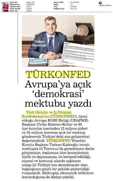 TÜRKONFED-UEAPME / Avrupa'ya Açık Mektup-19 Ağustos 2016