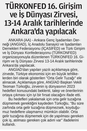 TÜRKONFED'den 16. Girişim ve İş Dünyası Zirvesi & Ankara