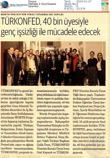 WORTH Projesi Kapanış Toplantısı Medya Yansımaları - 16 Ocak 2019 / İstanbul