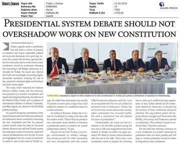 Yeni Anayasa'ya Doğru Raporu İstanbul Lansman Toplantısı Basın Yansımaları