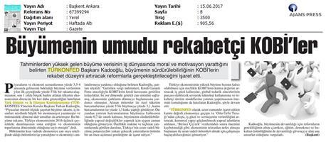 TÜRKONFED 1. Çeyrek Büyüme Verisi Basın Bülteni Medya Yansıması / 15 Haziran 2017