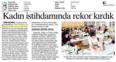 TÜRKONFED, 2017 3. İş Dünyasında Kadın Raporunun ilk faz sonuçları-Basın Yansımaları-8 Mart 2017