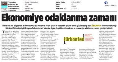TÜRKONFED Anayasa Referandumu Basın Açıklaması Medya Yansımaları / 17 Nisan 2017
