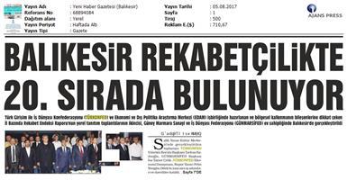 TÜRKONFED-GÜNMARSİFED Türkiye İçin Bir Rekabet Endeksi Rapor Tanıtım Toplantısı Medya Yansımaları / 5 Ağustos 2017