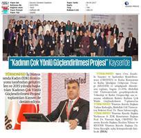 TÜRKONFED İDK Kadının Çok Yönlü Güçlendirilmesi Projesi Kayseri Toplantısı Medya Yansımaları / 5 Nisan 2017