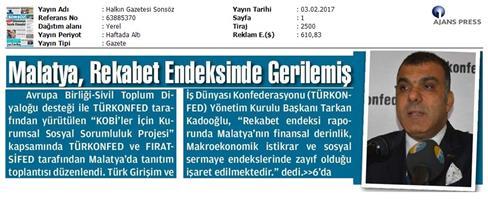 TÜRKONFED KSS Malatya Çalıştayı Medya Yansımaları-02.02.2017