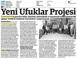 TÜRKONFED STEM ile Yeni Ufuklar Projesi Medya Yansımaları / 19 Temmuz 2017