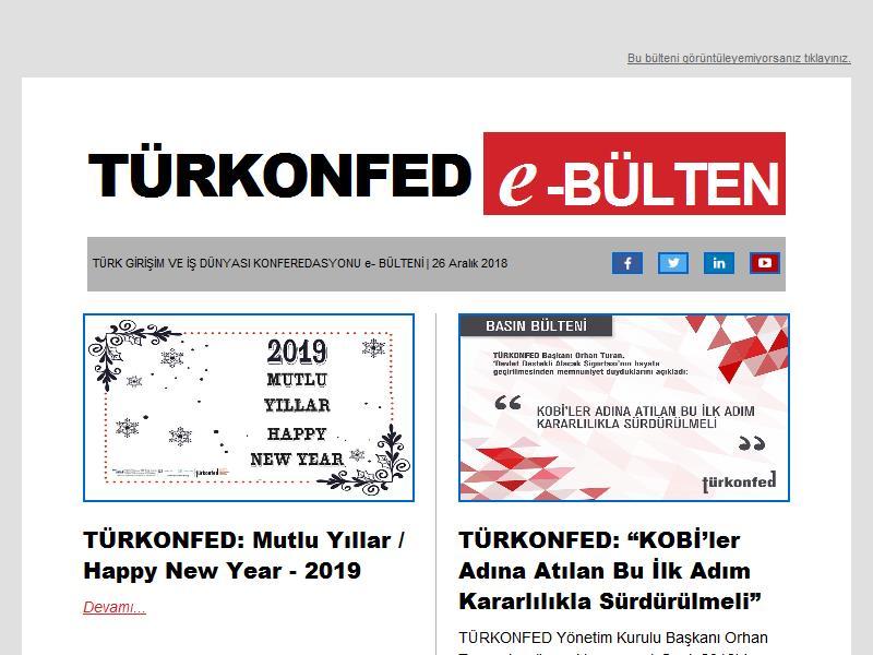 15 Aralık TÜRKONFED e-BÜLTEN