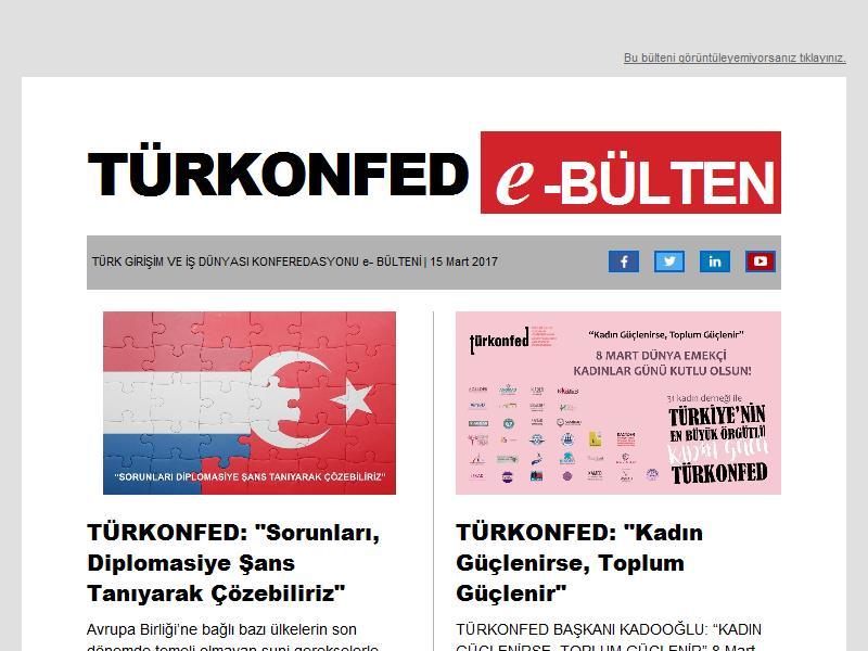 15 Mart TÜRKONFED e-Bülten